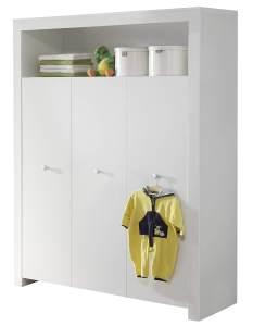 Trendteam 'Olivia' 3-trg. Kleiderschrank, weiß, mit 2 Kleiderstangen und 6 Ablagefächern