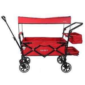 Fuxtec 'FX-CT850' Premium Bollerwagen in Rot, inkl. Feststellbremse, Sonnendach, Hecktasche, Zugstange, höhenverstellbarer Griff und Innenraumverlängerung