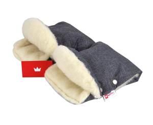 Babylux Lammwoll-Handmuff für Kinderwagen Leinen Grau