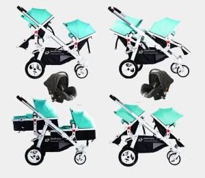 Babyfivestar Geschwisterwagen Türkis inkl. zwei Babyschalen