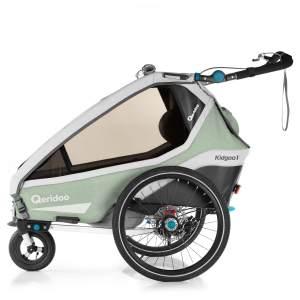 Qeridoo 'Kidgoo1 Pro' Fahrradanhänger 2020, Mint, 1-Sitzer, inkl. XXL Kofferraum, Verdeck, 360°Grad-Belüftungssystem