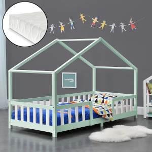 en.casa 'Treviolo' Hausbett 90x200 cm, mint/weiß, Kiefernholz, mit Matratze, Lattenrost und Rausfallschutz