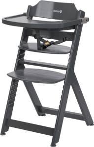 Safety 1st 'Timba' Treppenhochstuhl, dunkelgrau, 4-fach höhenverstellbar, mit Sicherheitsbügel, Gurt und Essbrett, Buche massiv