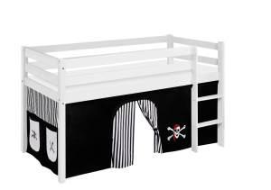 Lilokids 'Jelle' Spielbett 90 x 190 cm, Pirat Schwarz Weiß, Kiefer massiv, mit Vorhang