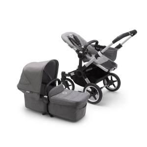 Bugaboo 'Donkey3' Mono Kinderwagen Set 3 in 1 inkl. Cybex Cloud Z i-Size Babysc. Alu / Grau / Grau Meliert Soho Grey