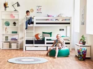 Hoppekids 'Premium' Etagenbett gerade Leiter, 90 x 200 cm, inkl. Rollroste und extra Schutzvorrichtung