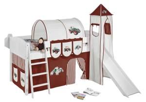 Spielbett 'LANDI/S' weiß inkl. Turm und Vorhang 'Trecker Braun'