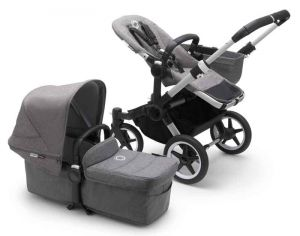 Bugaboo Donkey3 Mono Kinderwagen Set 3 in 1 inkl. Cybex Aton 5 Babyschale Alu / Grau / Grau Meliert Soho Grey