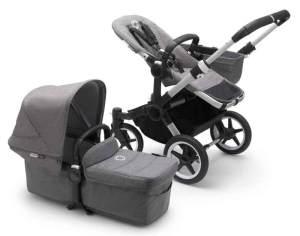 Bugaboo 'Donkey3 Mono' Kinderwagen Set 3 in 1 inkl. Cybex Cloud Z i-Size Babyschale Alu / Grau / Grau Meliert Deep Black