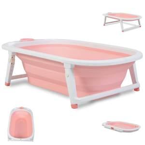 Cangaroo Babybadewanne Carribean, 83 cm, klappbar, Wasserablauf, Ablagefächer, Farbe:pink