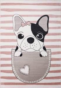 VIMODA 'Hunde Welpe' Kinderteppich 80 x 150 cm pink