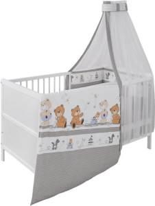 Jedynak 'Bärenfamilie' Babybett 70x140 cm, weiß, inkl. Matratze, Bettwäsche, Nestchen und Himmel