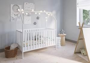 FabiMax 'Schlafmütze' Kinderbett, 70 x 140 cm, weiß, mit Matratze Comfort, Kiefer massiv, 3-fach höhenverstellbar, umbaubar
