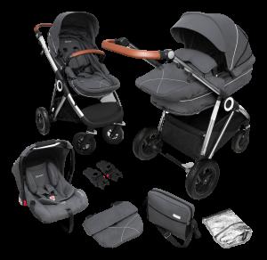 BabyGO 'Halime Air' Kombikinderwagen 4plusin1 Grau / Gestell Silber inkl. Sitz, Wanne, Babyschale, Wickeltasche, Adapter, Fußsack, Regenfolie