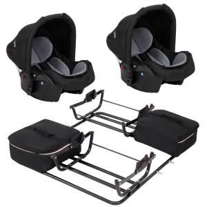 2 Babyschalen mit Adapter für Sport Duo Grau