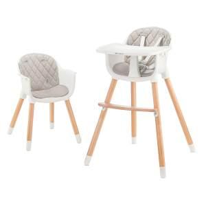 Kinderkraft 'Sienna' Kinderhochstuhl 2 in 1 Grau, Beine aus Holz, 5-Punkt-Gurt, Fußstütze, rutschfeste Stuhlbeinkappen inkl. abnehmbares Essbrett