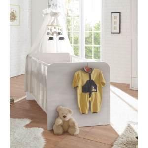 LUCA Sicheres Babybett mit 70 x 140 cm Liegefläche - Schönes Baby Gitterbett für einen geborgenen Schlaf in Pinie Weiß / Trüffel - 82 x 80 x 144 cm (B/H/T)