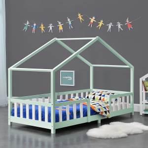 en.casa 'Treviolo' Hausbett 90x200 cm, mint/weiß, Kiefernholz, mit Lattenrost und Rausfallschutz
