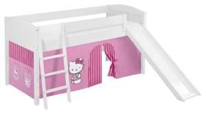 Lilokids 'Ida 4106' Spielbett 90 x 200 cm, Hello Kitty Rosa, Kiefer massiv, mit Rutsche und Vorhang
