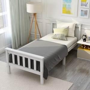 ModernLuxe Einzelbett 90 x 190 cm Kiefer Massiv Weiß