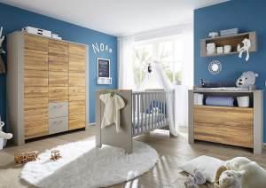 Storado 'Tokio' 5-tlg. Babyzimmer-Set für Zwillinge, taupe/wildeiche geölt, aus 2 Betten 70x140 cm inkl. Umbauseiten, Wickelkommode, Kleiderschrank, Hängeregal