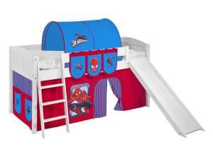 Spielbett 'Landi' weiß inkl. Vorhang 'Spiderman'