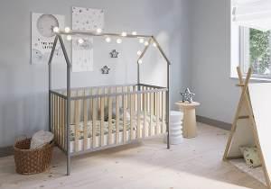 FabiMax 'Schlafmütze' Kinderbett, 70 x 140 cm, grau/natur, mit Matratze Classic, Kiefer massiv, 3-fach höhenverstellbar, umbaubar