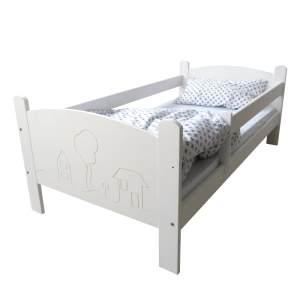 Kinderbettenwelt 'Häuschen' Kinderbett 70x140 cm, Weiß, inkl. Rollrost und Matratze