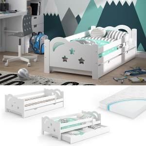 VitaliSpa 'Sari' Kinderbett 80 x 160 cm weiß, inkl. Schublade, Rausfallschutz, Matratze