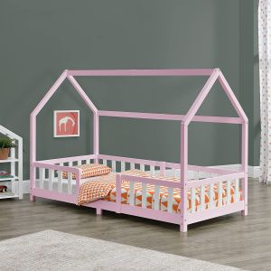 en.casa 'Sisimiut' Hausbett 90x200 cm, rosa/weiß, Kieferholz, inkl. Rausfallschutz und Lattenrost
