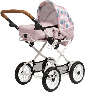 BRIO - Puppenwagen Combi, Soft Pink mit Tropfenmuster - Kombi-Puppenwagen