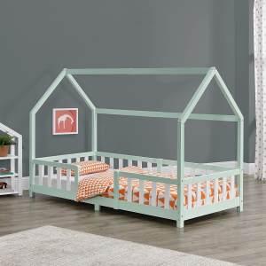 en.casa 'Sisimiut' Hausbett 90x200 cm, mint/weiß, Kieferholz, inkl. Rausfallschutz und Lattenrost