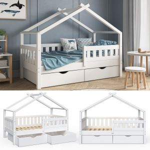 VitaliSpa 'Design' Kinderbett 80 x 160 cm, weiß, Massivholz Kiefer, inkl. 2 Schubladen