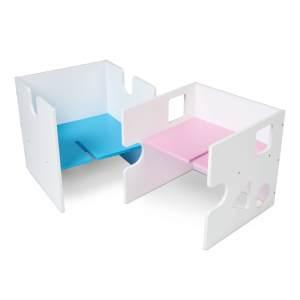 Babybay 'Babycube' Würfel seidenmatt weiß mit rosa/blau Sitzfläche