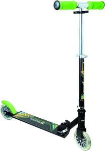 Muuwmi 102 'Aluminium Scooter NEON 125 mm' Scooter, ab 6 Jahren, 2-fach höhenverstellbar bis 83 cm, klappbar, mit Leuchtrollen, max. belastbar bis 100 kg, schwarz/grün