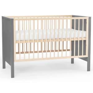 Kinderkraft 'Mia' Babybett 120 x 60 cm, Grau, mit Matratze, 3-fach höhenverstellbar