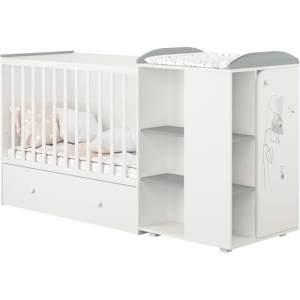 Polini kids 'Fench 950' Kombi-Kinderbett 60x120 cm, Amis, weiß-grau, mit integrierter Wickelkommode, Umbausatz und Bettschublade, umbaubar zum Jugenbett 90x200 cm