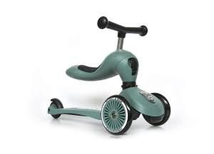 Scoot & Ride 'Highwaykick 1' Kickboard, ab 12 Monaten, 3-fach höhenverstellbar bis 64 cm, 2in1 mit Sitz, max. belastbar bis 50 kg, forest
