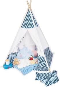 Pinolino 'Dakota' Tipi, mit Fenster, Bodenmatte und Aufbewahrungsbeutel, blau weiß