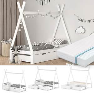 VitaliSpa Tipibett, Weiß, 90 x 200 cm, höhenverstellbar, inkl. Lattenrost, Matratze und Schubladen-Set, Buche massiv