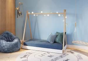 FabiMax 'Tipi' Kinderbett, 80 x 160 cm, weiß/natur, Kiefer massiv, inkl. Lattenrost und Matratze Comfort