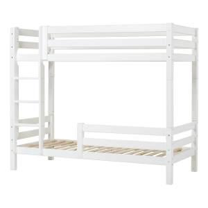 Hohes Etagenbett 90x200 cm mit gerader Leiter und Rausfallschutz klein - Weiß - Hoppekids Premium