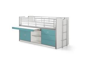 Vipack 'Bonny' Multifunktionsbett, weiß/türkis, 90x200 cm, mit Schubladen und Schreibtisch