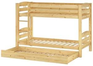 Erst-Holz '60.10-09' Etagenbett 90x200 cm, natur, Kiefer massiv, inkl. Rollroste und Gästebettkasten