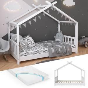 VitaliSpa 'Design' Hausbett 80 x 160 cm, Holz weiß, inkl. Lattenrost und Matratze