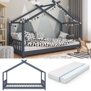 VitaliSpa 'Design' Hausbett 90x200cm anthrazit inkl. Lattenrost und Matratze