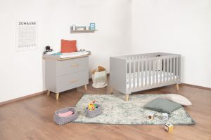 Bellabino 'Gora' 3-tlg. Babyzimmerset 70x140 cm, grau, Set aus umbaubarem Babybett, Wickelkommode mit abnehmbarem Wickelaufsatz 75x85 cm und Wandregal