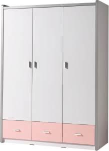 Vipack 'Bonny' 3-trg. Kleiderschrank, weiß/rosa, mit Kleiderstange, 3 Schubladen und 5 Ablagefächern