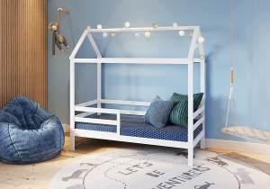FabiMax 'Schlummerhaus' Kinderbett, 80 x 160 cm, weiß, Kiefer massiv, mit Matratze Classic