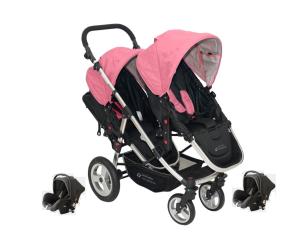 BabyFiveStar Geschwister / Zwillingswagen Pink / Schwarz